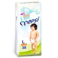 Подгузники детские mepsi-премиум l 9-16 кг, в упаковке 38 шт