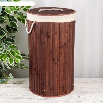 Корзина для белья круглая «бамбук», цвет коричневый