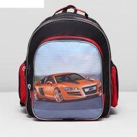 Рюкзак школьный 119, 30*29*39, 1 отд на молнии, 3 н/кармана, черный/красны