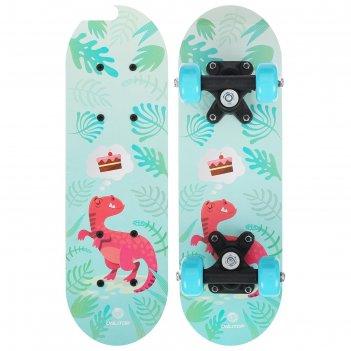 Скейтборд детский динозавр 44 х14 см, колеса pvc 50 мм, пластиковая рама