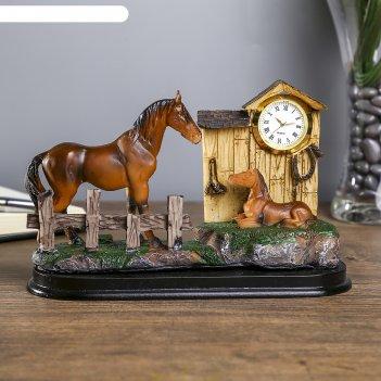 Сувенир полистоун с часами лошадь с жеребёнком 10,8х18,3х5 см