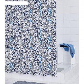 Штора для ванных комнат oriental, цвет синий/голубой, 180х200 см
