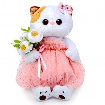 Мягкая игрушка «кошечка ли-ли» с белым букетом, 27 см
