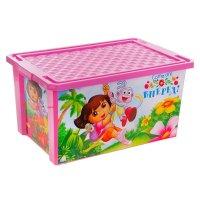 Ящик для игрушек на колесах даша путешественница 57 л, с крышкой, цвет роз