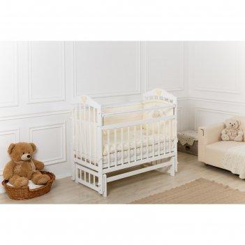 Кроватка детская incanto pali с мишкой, продольное качание, белая