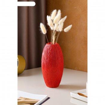 Ваза настольная средняя евро, дерево, красная, 31 см