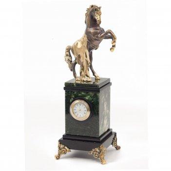 Часы конь с попоной нефрит бронза