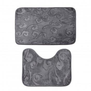 Набор ковриков для ванны и туалета «грация», 2 шт: 40x50, 50x80 см, цвет с