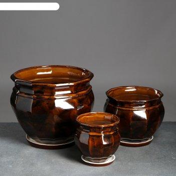Набор кашпо 3 шт.  мираж коричневый: 14,5л, 5,3л, 2л