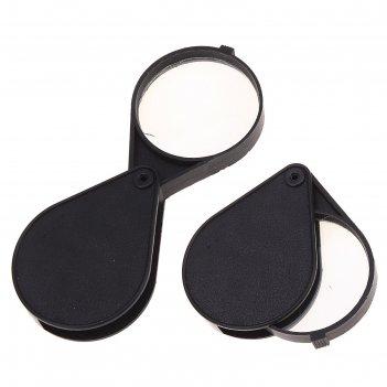 Лупа канцелярская д-5см складная черная пластик,стекло