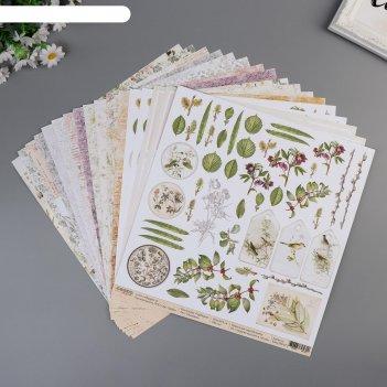 Набор бумаги для скрапбукинга гербарий 16 листов 30.5х30.5см 190гр/м2
