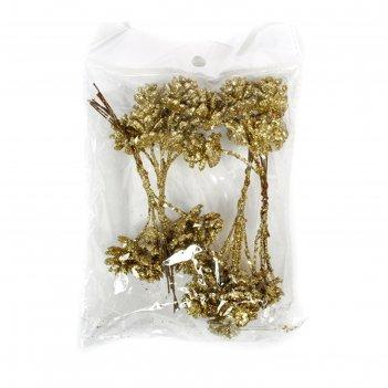 Шишки малютки с блеском 2 см, набор 24 шт, золотой