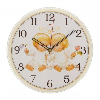 Часы настенные ангелочки, рубин, 25х25 см