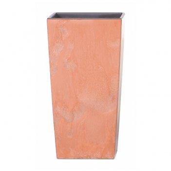 Кашпо для цветов prosperplast urbi square effect 49+21л, терракотовый