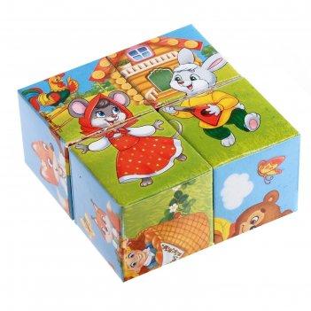 Кубики картонные «любимые сказки», 4 шт