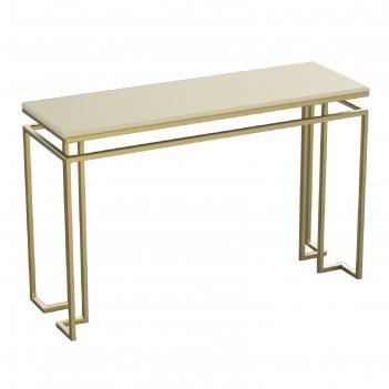 Консоль designo ножки металл золото столешница слоновая кость, 120х40х76см