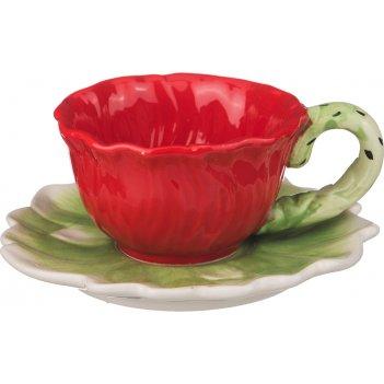Чайный набор на 1 персону 2 пр. маковый цвет 200 мл (кор=36набор.)