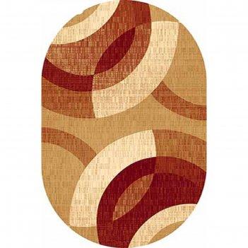 Овальный ковёр «карвинг» kamea 6786, 250 х 400 см, цвет beige/red