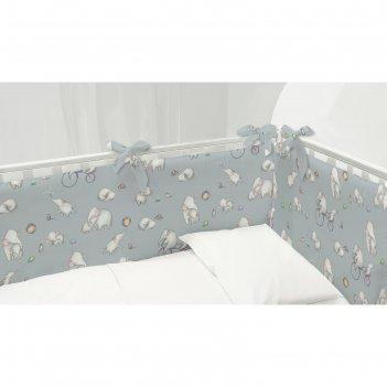 Комплект бортиков в кроватку непоседа слоники 120х34-2шт;60х34-2шт поплин