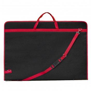 Папка а1 с ручками текстиль 890*630*30 мм estado чёрная красный кант