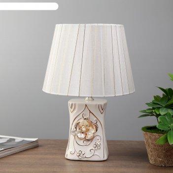 Лампа настольная адель 1x40вт e14 золото-белый 20х20х29 см.