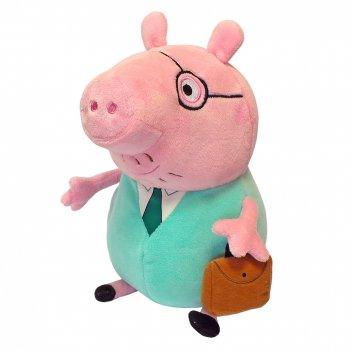 Мягкая игрушка peppa pig. папа свин с кейсом