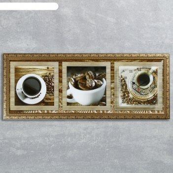 Часы-картина настенные, серия: кухня, кофейные зерна, 35х100  см, микс