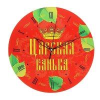 Часы банные царская банька!, цветные, корона, узоры, 25 см