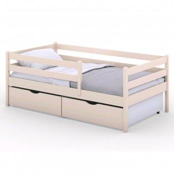 Кроватка viki, спальное место 140х80 см, цвет бежевый, + ящики цвет бежевы