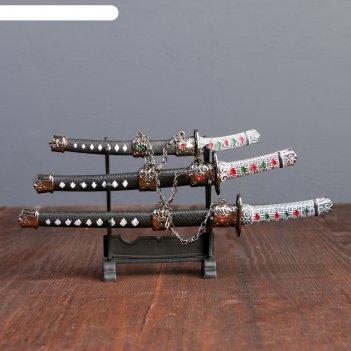 Катаны сувенирные 3в1 на подставке, кожа, черные ножны, ромбики