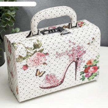 Шкатулка кожзам для украшений чемодан цветочная туфелька блёстки 9,5х24х16