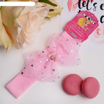 Повязка для волос сияние 3*17 см цветок, пайетки, розовый
