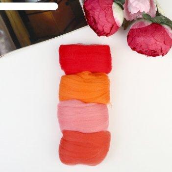 Набор шерсти для валяния ассорти № 3 100% меринос.шерсть 4х10 гр (красн,ор