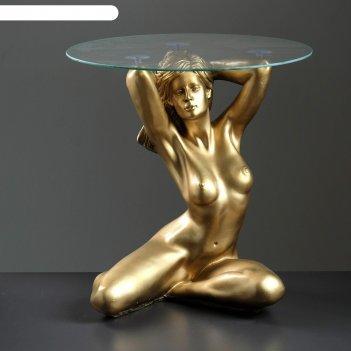 Подставка - стол пробуждение бронза полистоун, 39x39,5x52 см