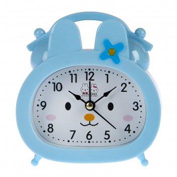 Ретро-будильник зайка, овал, на циферблате мордочка, микс цветов, 12,5*10,