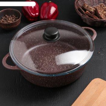 Жаровня «шоколад», 28x9,5 см, стеклянная крышка