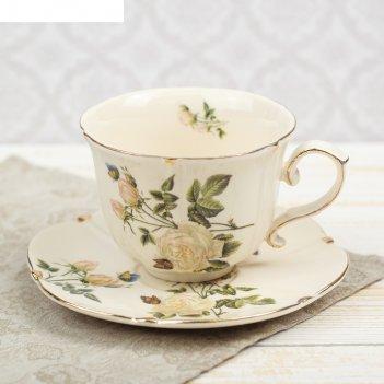 Чайная пара белая роза чашка 220 мл, блюдце d-15 см