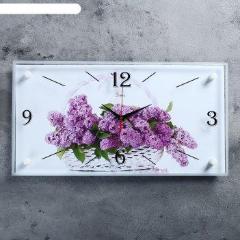 Часы настенные прямоугольные сирень в корзине, 52х26 см
