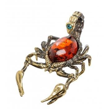 Am-1397 фигурка скорпион (латунь, янтарь)
