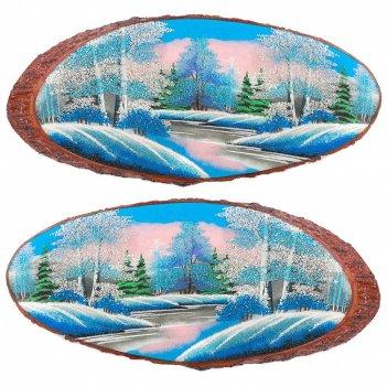 Панно на срезе дерева зима горизонтальное 50-55 см