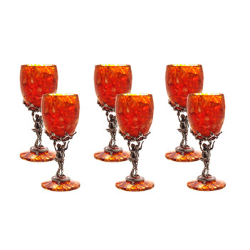 Бокал для вина искушение из янтаря в наборе на 6 персон (юв. бронза)