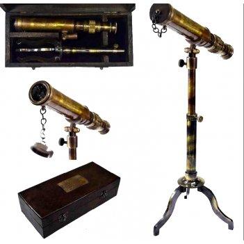 Телескоп настольный на треноге в деревянном футляре