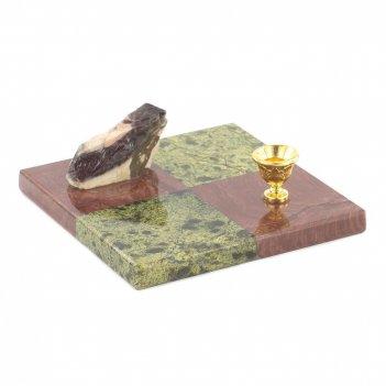 Подсвечник шахматный лемезит змеевик 100х100х40 мм 300 гр.