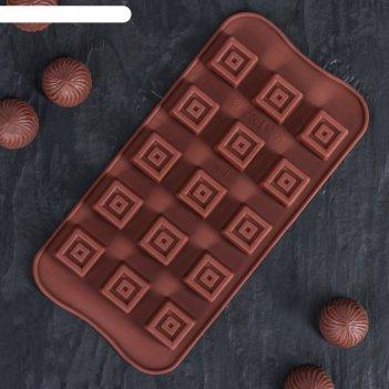 Форма для льда и шоколада 21x10 «конфетка», 15 ячеек (2,3x2,3 см), цвет шо