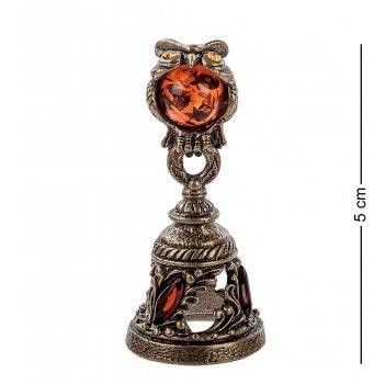 Am- 347 фигурка колокольчик-сова (латунь, янтарь)