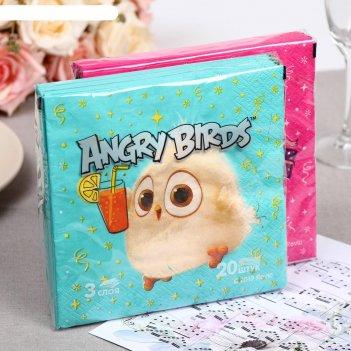 Салфетки бумажные angry birds: hatchlings коллекция 33х33 3сл 20л