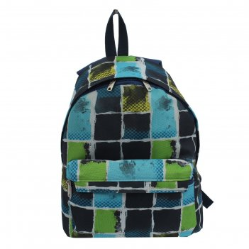 Рюкзак молодёжный, отдел на молнии, наружный карман, цвет голубой/чёрный/ж