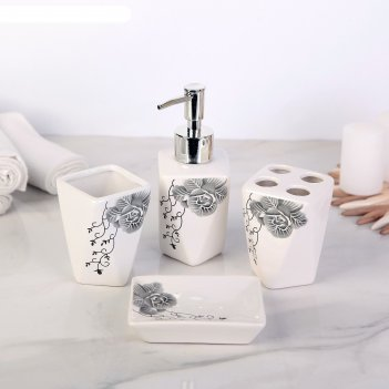 Набор аксессуаров для ванной комнаты, 4 предмета роза