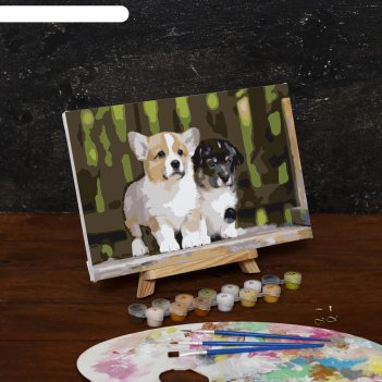 Картина по номерам на холсте щенки на прогулке, 30*20 см