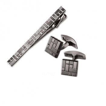 Набор s.quire: заколка для галстука 65 мм + запонки, хром, темного цвета с